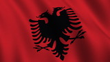 Flag of Albania waving in the wind - seamless loop poster