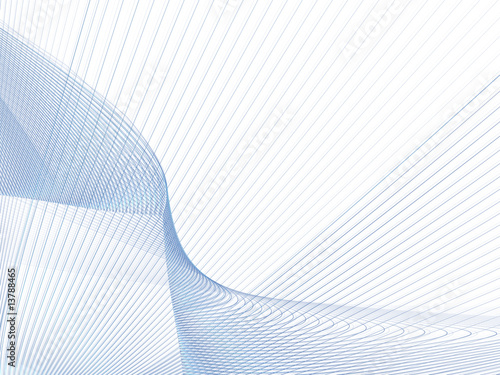 Foto op Canvas Fractal waves Feine blaue Linien auf weißem Grund
