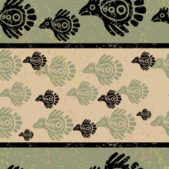Seamless grunge Mexican pattern with birds