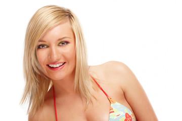 Beautiful blond girl weaing swimming costume