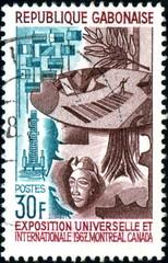 République Gabonaise, expo Montréal, 1967. Timbre Postal.