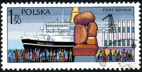 Polska. port Gdynia. Timbre postal.