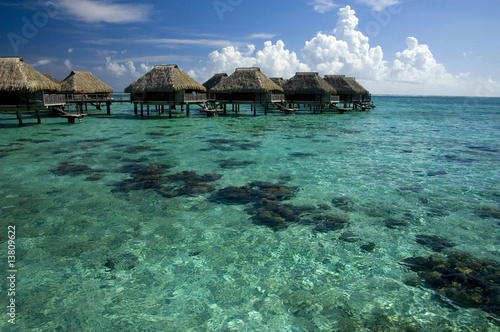 transparent waters of lagoon in french polynesia