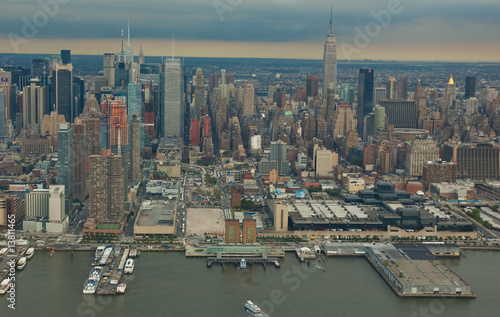 Skyline New York from helicopter