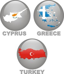 maps and flags of Cyprus,Greece,Turkey