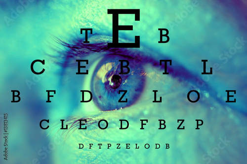 an eye with test vision chart