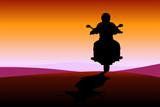 motociclista al tramonto 2 poster