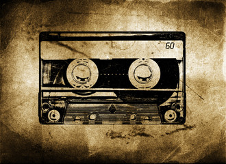 Old Grungy cassette tape with grunge and aged textured backgroun
