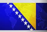 Flag of Bosnia Hertzigovina metallic map poster