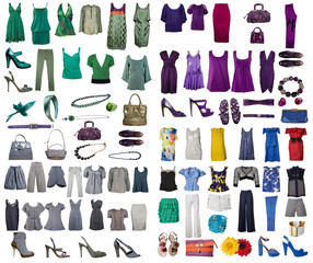 collection internet icons of clothes from white background