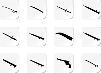 Guns. Set of 12 vector for web.
