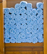 Blue Spa Towels in Wood