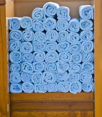 Blue Spa Towels in Wood