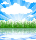 Sunny summer background with grass, water, clouds and sunbeams poster