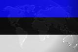 Flag of Estonia metallic map poster