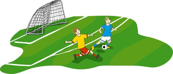 Fußballer im Zweikampf