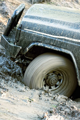 Dirty wheel of cross-country vehicle