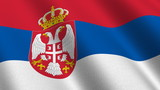 Flag of Serbia waving in the wind - seamless loop poster