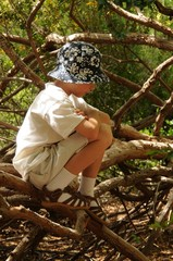 Boy alone sitting on a bunch of branches