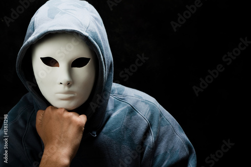 young man wearing white mask and hood