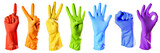 Fototapety raibow color rubber gloves on white with clipping path