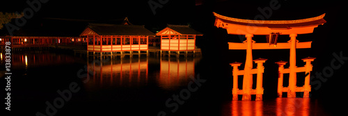 Great torii at Miyajima, by night