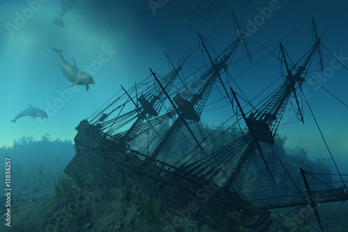 Leinwandbild Motiv Shipwreck Beneath the Sea - 3d render