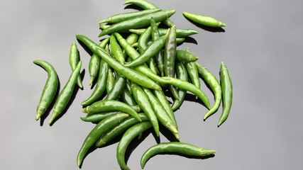 Whole green chilli peppers