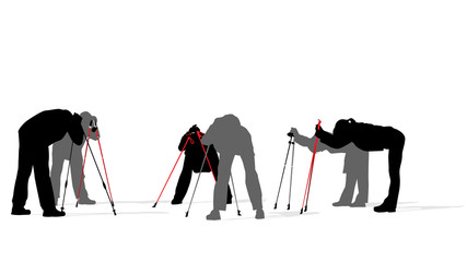 Nordic walkers exercising, vector illustration