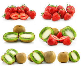 Collection of Ripe Sliced Kiwi and Strawberries Isolated