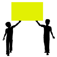 Yellow board held by children