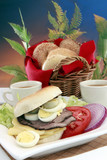 Good morning deli meats bagel and swiss emental poster