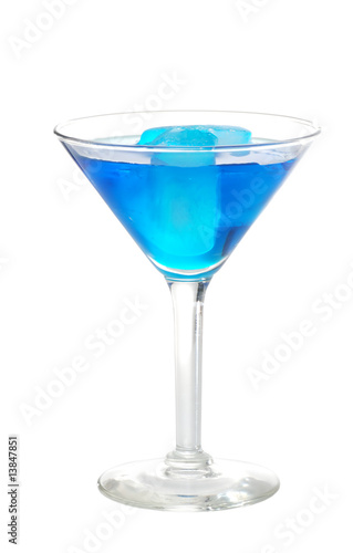 blue martini with ice cubes