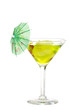 Green martini with an umbrella