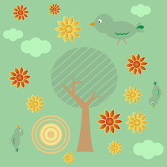Retro style background with tree, sun, clouds, flowers and birds