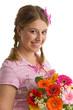 Mädchen mit Blumenstrauß