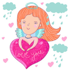 Little love angel in clouds - cute cartoon illustration