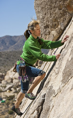 Female rock climber.