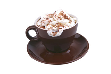 hot coffe with milky cream and chocolate cream