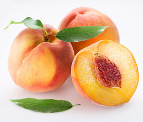 Peaches on a white background.