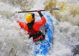 Kayaks on Whitewater Rapids poster