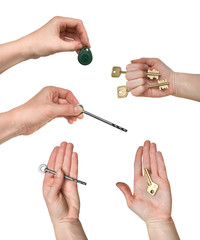 Keys of different kinds in woman hands (set)