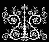 white curled symmetric design poster