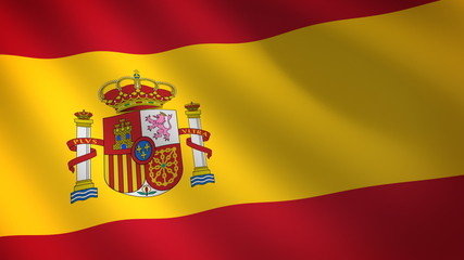 Spain flag waving in the wind. Seamless looping
