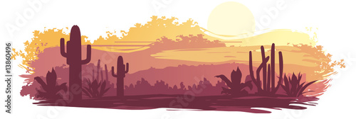 The Mexican landscape in brown-orange tones - 13860496