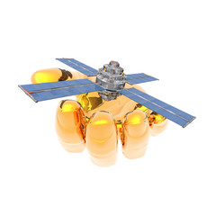 Satelite sputnik in hand isolated on white