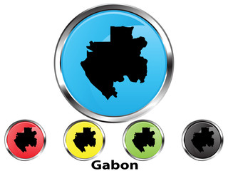 Glossy vector map button of Gabon