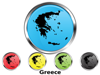 Glossy vector map button of Greece