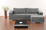 A modern minimalist living-room with grey furniture poster