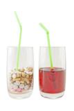 Glass of Vitamin Pills versus Juice - Isolation poster